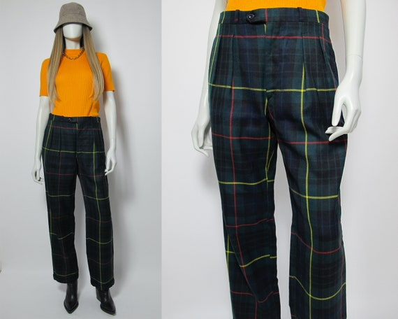 90s checkered pants / green tartan pants / wool pl