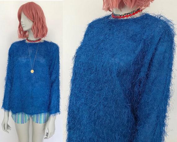 Fuzzy sweater for women 80s blue sweater women fluffy sweater
