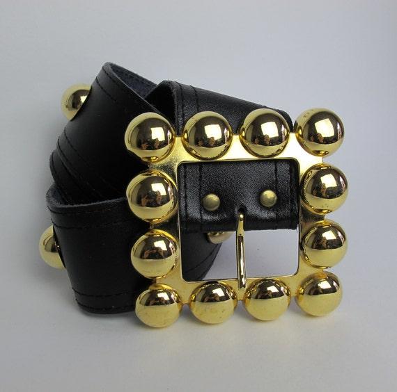 80s large leather belt  / boho black leather belt