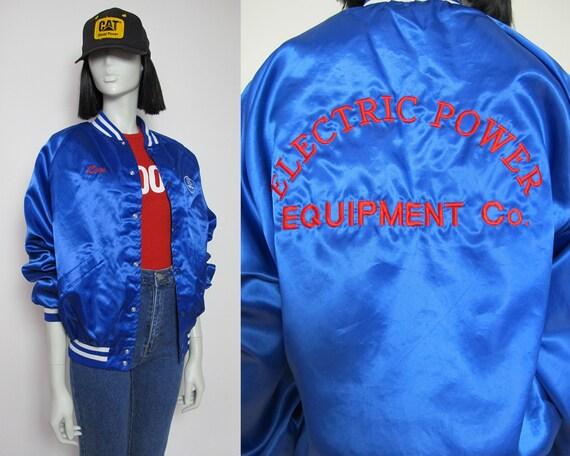 90s blue satin bomber jacket / 90s utility jacket