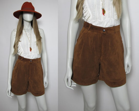 90s suede shorts / 90s high waisted shorts / brown