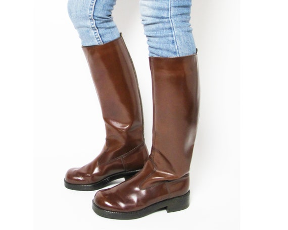 Brown leather riding boots / 70s equestrian boots