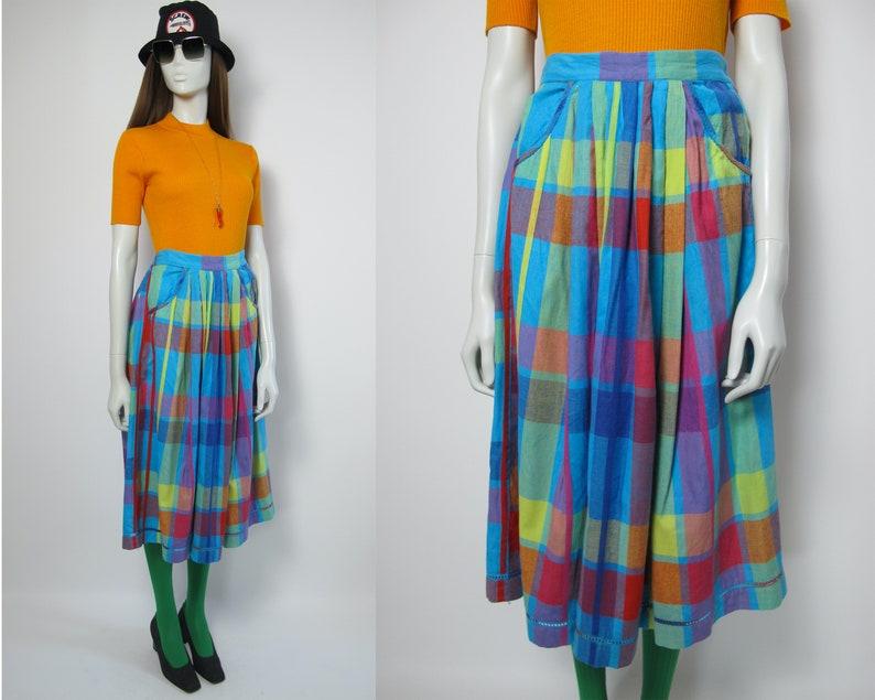 90s plaid skirt M  90s high waist tartan skirt  90s checked skirt M