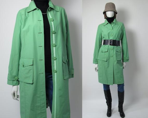 DKNY apple green trench coat / green rain coat XS