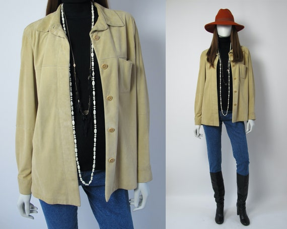 MARELLA / Suede leather shirt women / sand color l