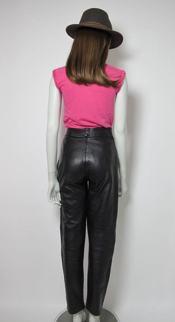 80s leather pants / high waisted pants / black le… - image 7