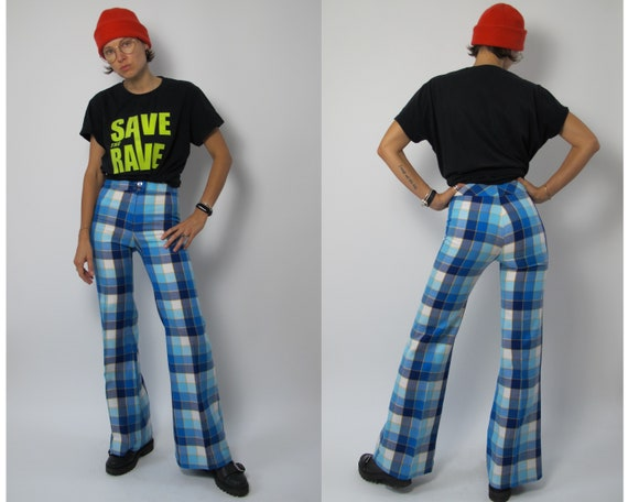 Rave check pants / 70s bell bottom pants / 70s che