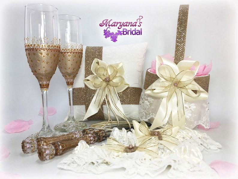 Champagne Flower Girl Basket wCharms Gatsby Gold Wedding Flower Girl Basket Ivory Tan Copper Flower Basket Disney Champagne Flower Basket