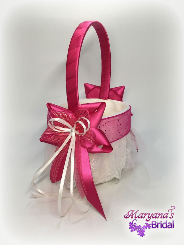 Fuchsia flower girl basket pink flower girl basket azalea etsy image 0 mightylinksfo