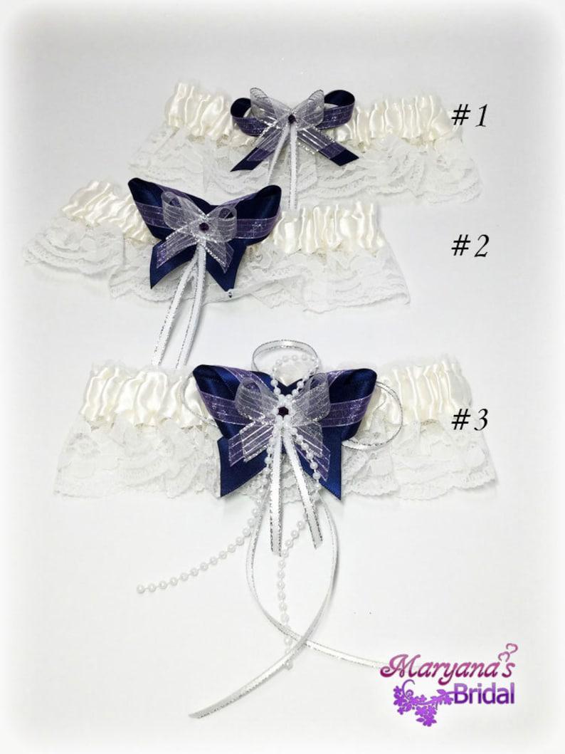 Blue Black Purple Wedding Garters wCharms Navy Garters Midnight Bridal Garters Galaxy Wedding Garters Stars Wedding Garters Constellations