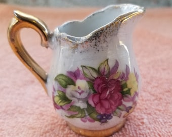 Vintage Miniature Creamer / Pitcher Roses Flowers Gold Trim 2.5""