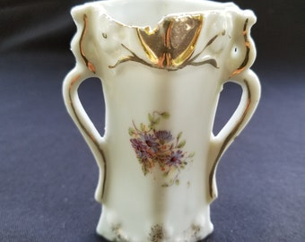 "Mini Floral Bud Vase Gold Trim - 3.5"" Tall"