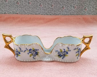 "Vintage J. Horton Porcelain Caddy / Holder Flowers Gold Trim 8"" x 2.5"" x 2"""