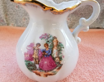 "Vintage Pitcher Victorian Couple Gold Trim - 5.5"" Tall"