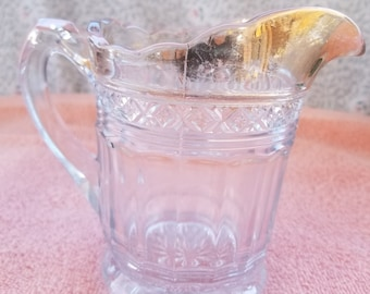 "Vintage Cut Glass Creamer with Gold Trim - 5"" Tall"