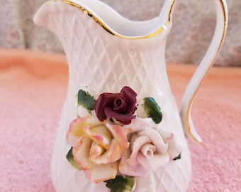 "White Pitcher With Roses & Gold Trim - 4.5"" Tall"