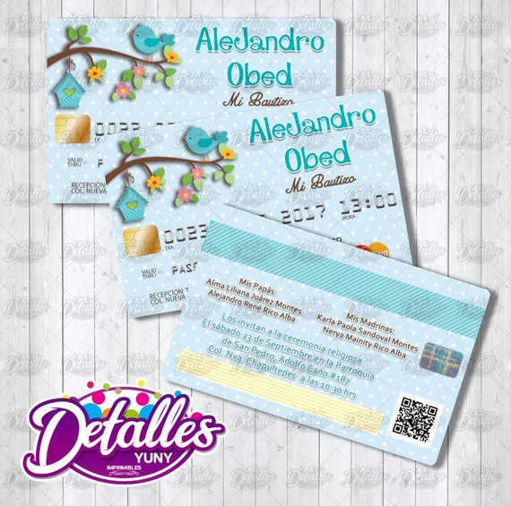 Invitacion Editable En Photoshop Tarjeta De Credito Para Niño Credit Card Invitation Editable Printable Imprimible Psd