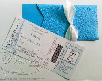 Invitation plane ticket, template templates, printable Photoshop Studio3.