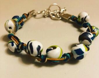 Handmade polymer clay beaded linen bracelet