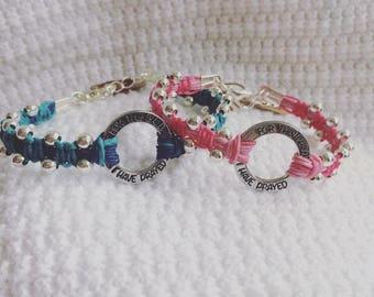 For this child I have prayed handmade linen bracelet