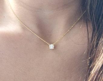 Statement Yellow Teardrop CZ  Necklace Pendant Diamante Wedding Bride