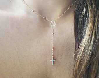 SNCRN10027 Women Sterling Silver Rosary Necklace 5mm Bead Jesus On The Cross Pendant Chain