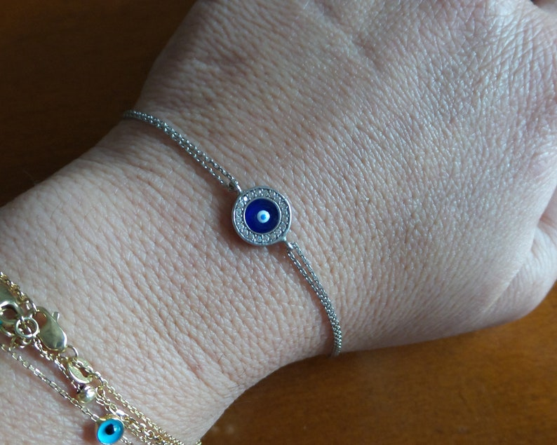 Evil Eye Cross Bracelet  Sterling Silver Evil Eye Cross Bracelet  Cz Cross  Evil Eye Bracelet  Dainty Evil Eye Bracelet  Yogi Bracelet