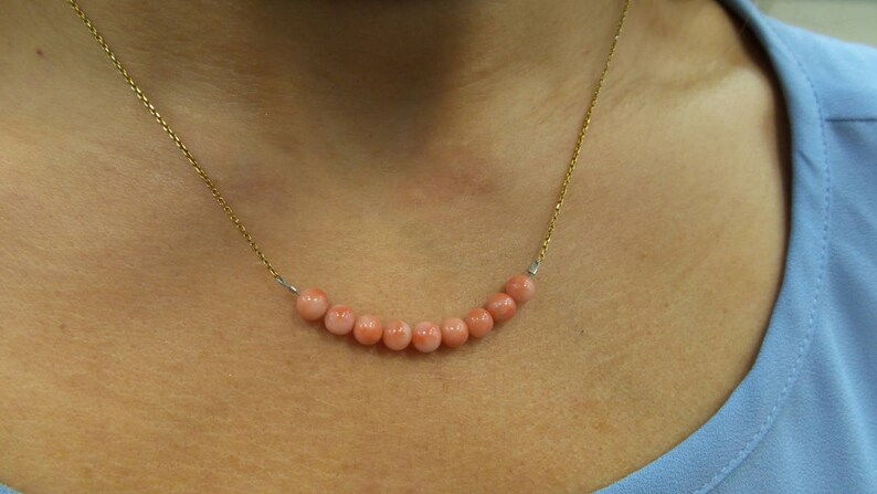 Coral Necklace Yellow Gold Plated Silver 925 Coral Necklace Natural Coral Necklace Layering Necklace