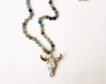 Amazonite Longhorn Necklace