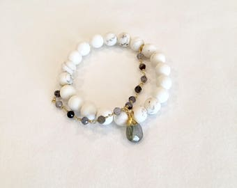 White Turquoise and Rosary Chain Bracelet