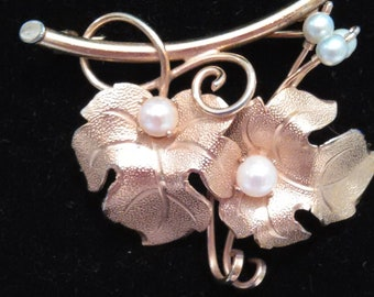 Delicate Leaf and Pearl Pin in 14KT GP Embossed leaves,