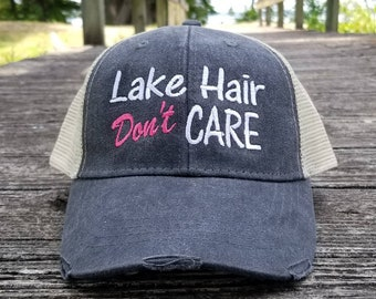37cc40a2c62141 Lake Hair Don't Care, distressed trucker hat, 8 optional colors