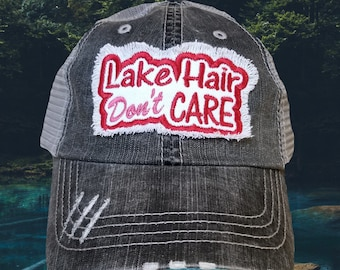 59bb0ea18 Lake Hair Don't Care, Women's distressed Cap.