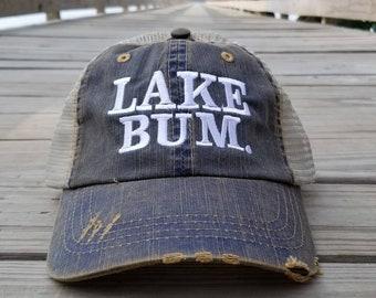 Lake Bum, distressed dirty worn looking Navy cap
