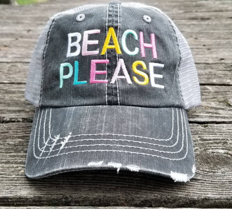 800dd4b3 Beach Please low profile black distressed hat with silver | Etsy