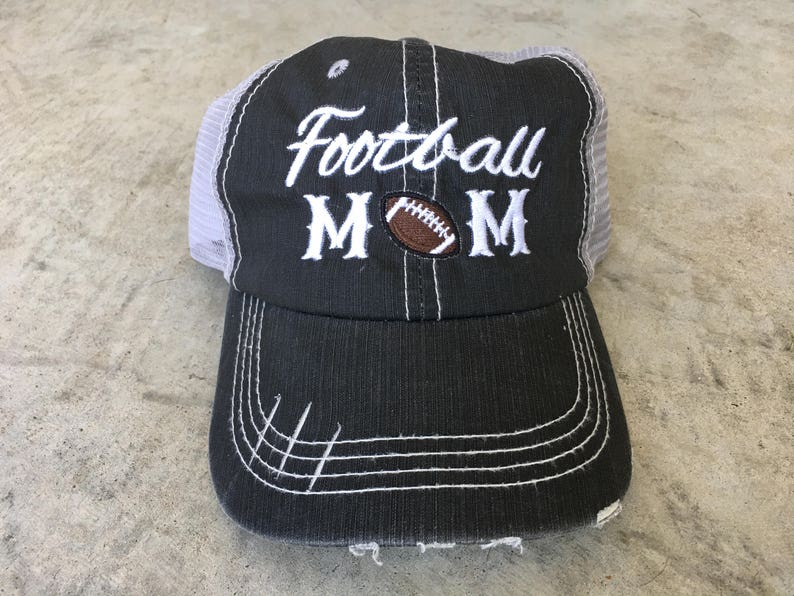 7121aaea364 Football Mom, football, game day, sports, mesh, cap, hat, women hat,  trucker, distressed