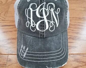 Womens monogram hat, monogram hat, cap, hat, trucker hat, distressed hat,