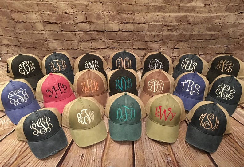 3d55409fc10 Monogram hat distressed monogrammed hat distressed monogram