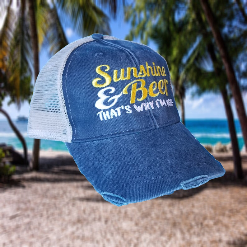 fd583aa0e Sunshine and Beer, distressed trucker hat, party hat, beach hat, beer,  sunshine, trucker hat, custom hat