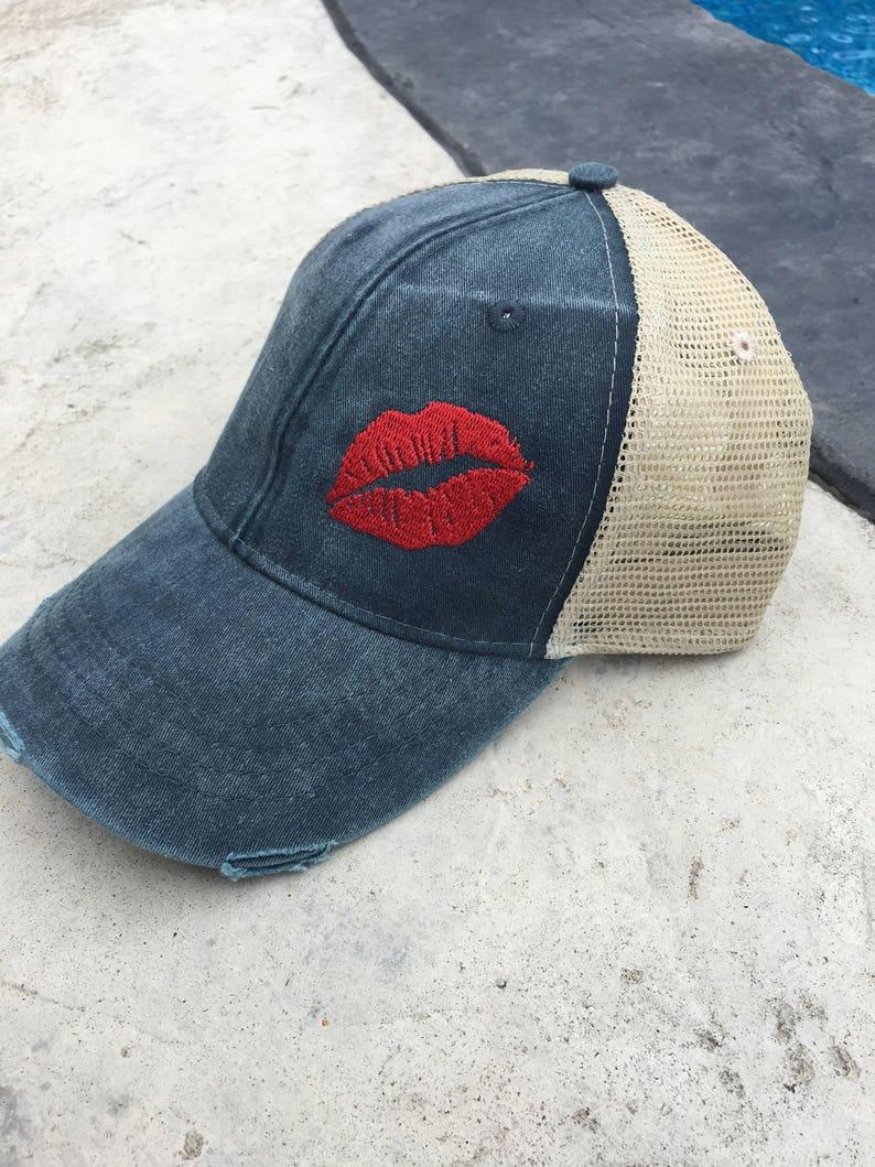 Lips, custom hat, womens hat, trucker hat, cap, hat, lip, lips hat, mesh  hat, snapback hat, adams hat, distressed, vintage