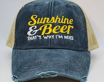 Sunshine and Beer, distressed trucker hat, party hat, beach hat, beer, sunshine, trucker hat, custom hat