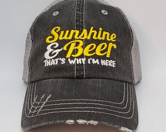 Sunshine and Beer, low profile hat, cap, low profile, beach, party, distressed hat,