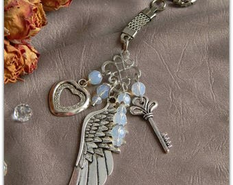 Keychain Wing Angel Key Heart Keychain Wing Angel Wing love key from the heart Gift beloved Mom birthday Key ring silver feather angel