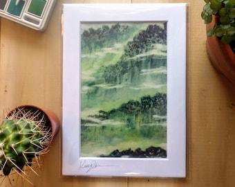 Foggy Morning Mountain Vermont Art Print, Foggy Forest Wall Art, Green Forest Wall Art, Mountain Home Decor, Mountain Wall Art