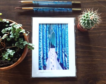 Winter Wonderland Birch Forrest Print, Birch Landscape Art, Nature Art Prints, Birch Tree Art, Nature Home Decor, Winter Art,