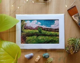 Vermont Landscape Art Print, Oil Painting Art Print, Vermont Made Home Decor, Cloud and Meadow Landscape Art, Serene Wall Art, Peaceful Art