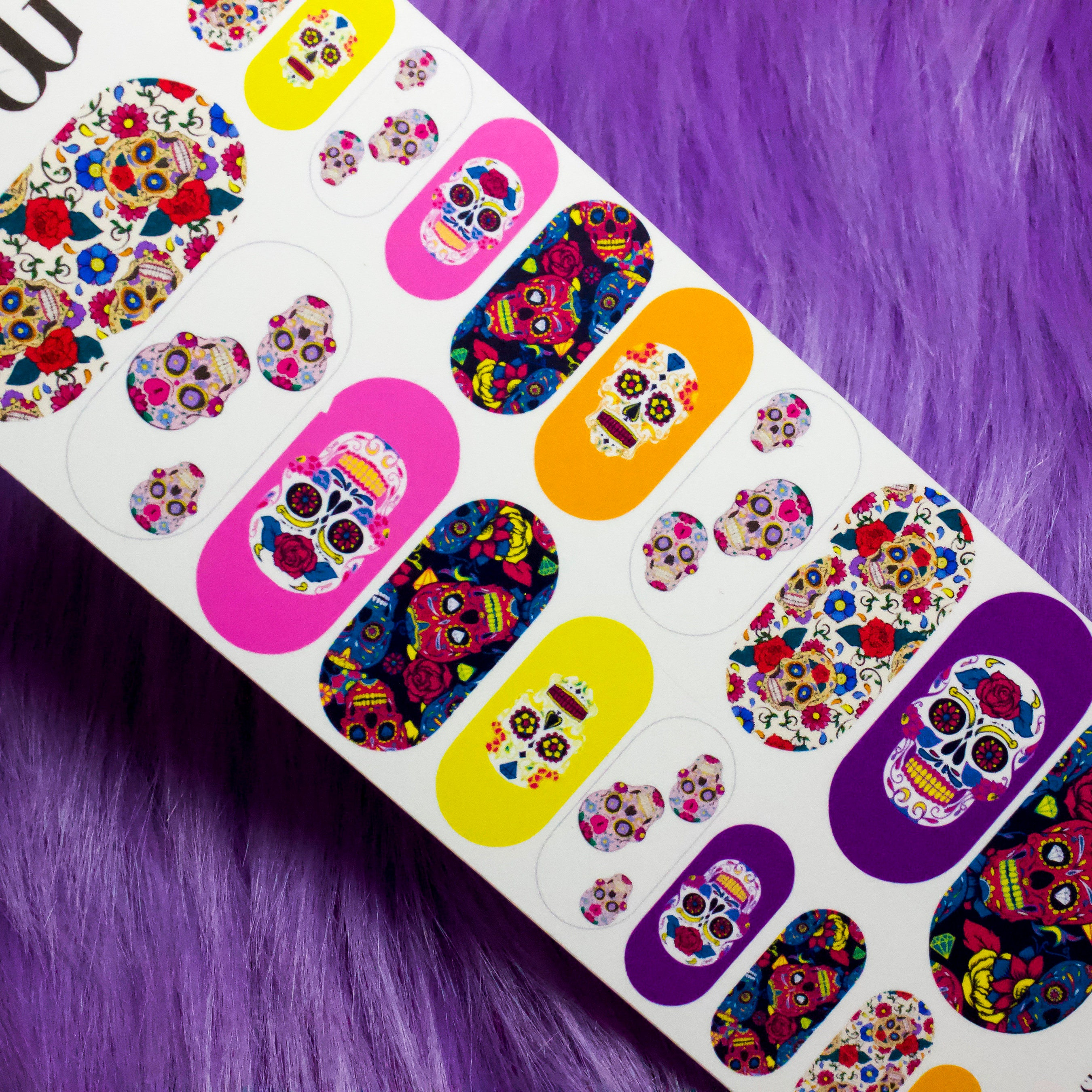 Sugar Skull Nail Decals Horror Halloween Nail Art Nail | Etsy