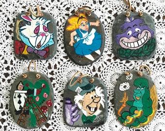 Alice in Wonderland Slate Wall Hangings, Alice in Wonderland Home Decor Set of 6