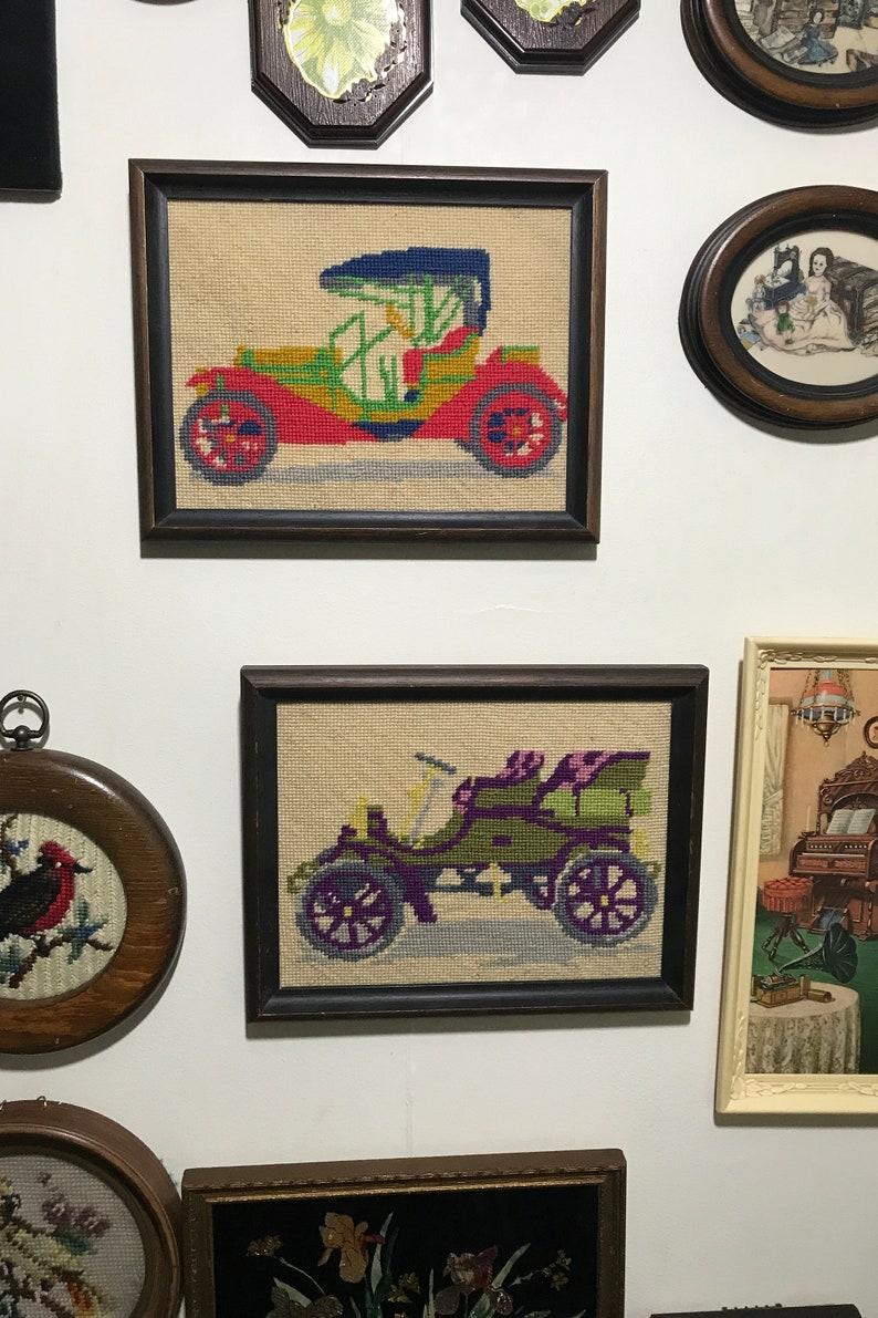 Antique Car Needlepoint Set