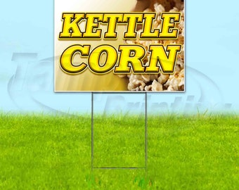 Flag, New Kettle Corn 13 oz Heavy Duty Vinyl Banner Sign with Metal Grommets Store Advertising Many Sizes Available